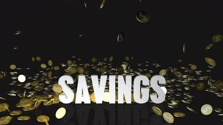accumulating : Savings Concept with Gold Coins Falling From the Sky