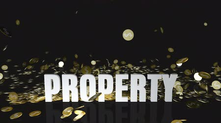 accumulating : Property Concept with Gold Coins Falling From the Sky Stock Footage