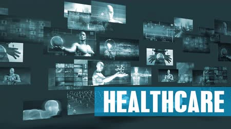 абстрактный фон : Healthcare Technology with Moving Screens Video Wall Background Looping