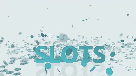 accumulating : Slots Machine Gambling Concept with Money Falling From the Sky