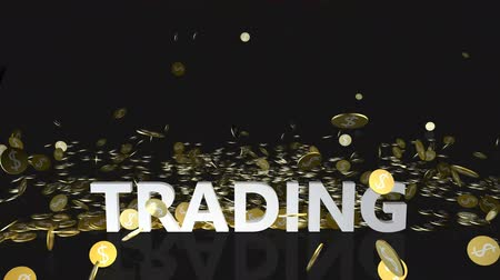 accumulating : Trading Concept with Gold Coins Falling From the Sky