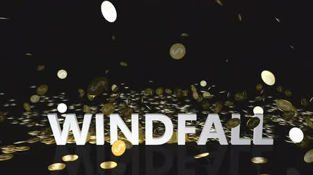 accumulating : Windfall Concept with Gold Coins Falling From the Sky Stock Footage