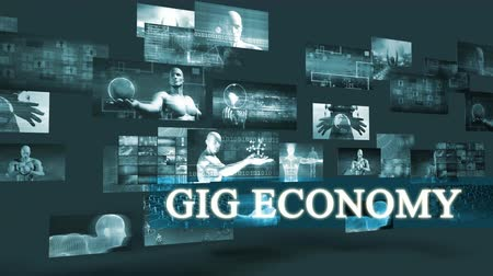még mindig : Gig Economy with Moving Screens Video Wall Background Looping Stock mozgókép