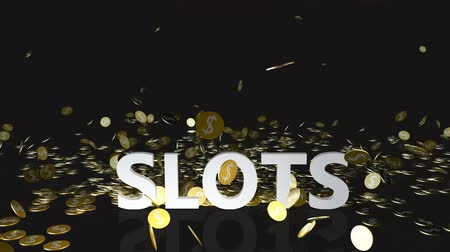 accumulating : Slots Concept with Gold Coins Falling From the Sky