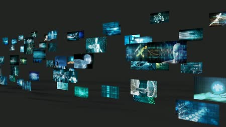 accumulating : Video Wall Abstract with Business Technology Screens Concept Stock Footage