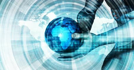 praca zespołowa : Man Holding Globe with Technology Abstract Background Wideo