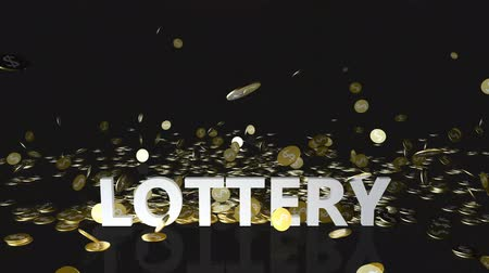 accumulating : Lottery Concept with Gold Coins Falling From the Sky Stock Footage