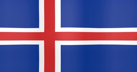 gradual : Waving Flag of Iceland Looping Background Stock Footage