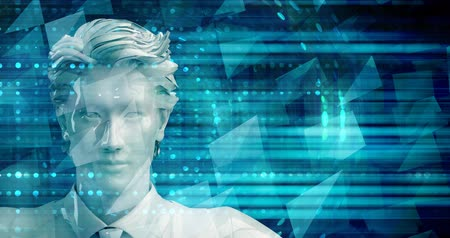 demanda : Asian Business Man Using Digital Solutions Technology Concept Art Stock Footage