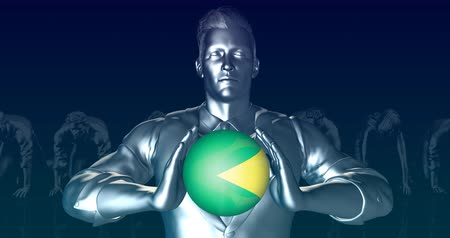 initiatief : Man Holding Flag of Brazil as Global Sphere