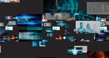 de aumento : Content Marketing on a Video Wall as Digital Concept Stock Footage