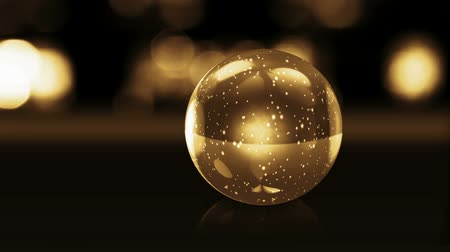 esferas : golden glass ball with snow