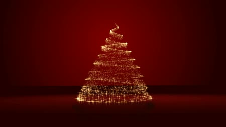 christian : Christmas tree on red background Stock Footage