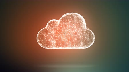 mraky : cloud storage from dots an lines slow moving, network conception from a plurality of hosts and communications 4K