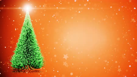 свечение : Merry Christmas greeting card: Christmas tree with shining light, falling snowflakes and stars and place for text.