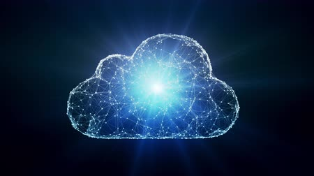 Cloud computing conception, chaotically slow moving connected points, cloud technology, cloud storage, internet of things