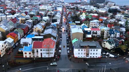 hallgrimskirkja : Reykjavik downtown aerial, Iceland in winter time, view from Hallgrimskirkja Stock Footage