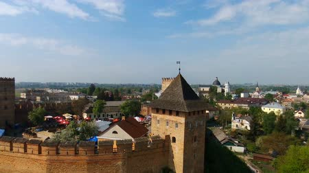 prominent : Lutsk, Ukraine - May 7, 2017: View of the  Lubarts Castle the one of famous castle in Ukraine, video from drone (quadrocopter) Stock Footage
