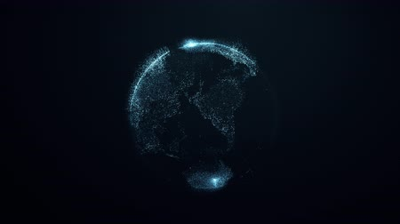 východní : Animation of spinning globe of the Earth planet on black background. 4K loop animation from particles.