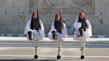 síremlék : Greece, Athens, November 26, 2017: Greek national guards (Evzones) in front of the Tomb of the Unknown Soldier near building of Parliament. Changing of the Guard, Athens, Greece