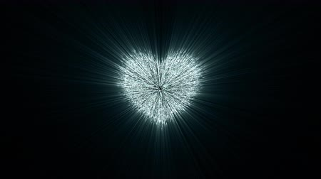 contemporâneo : explosion of heart to million particular, millions of particles merge and create a heart shape,  4K valentines day video greeting card