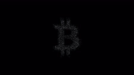 urdidura : bitcoin symbol, million particulars make bitcoin symbol in space, conceptual technical animation, 4K technical abstract animation Stock Footage