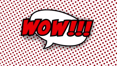 estalo : Wow text in speech balloon in comic style animation, 4K retro cartoon comics animation on green screen, special offer, sale, discount and percentages