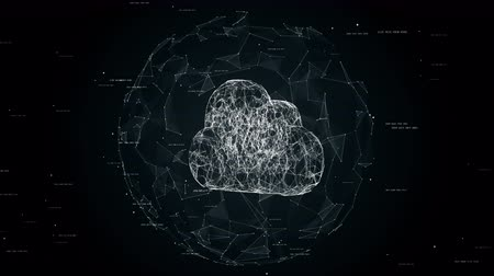 the conception : Cloud computing concept animation, cloud technology background, cloud storage, cloud symbol placed in sphere after firewall, seamless loop animation Stock Footage