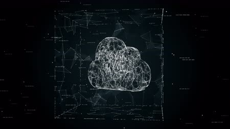 koncepce : Cloud computing concept animation, cloud technology background, cloud storage, cloud symbol placed in cube after firewall, seamless loop animation