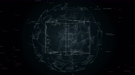 the conception : cube in sphere, global network in protected place, concept technology animation, seamless loop animation