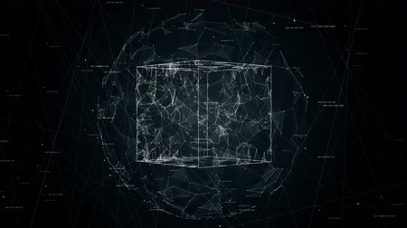 dolgok : cube in sphere, global network in protected place, concept technology animation, seamless loop animation