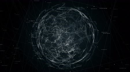 the conception : sphere in sphere, global network in protected place, concept technology animation, seamless loop animation