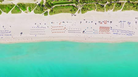 aerial birds eye view of surfer in tropical clear water miami beach