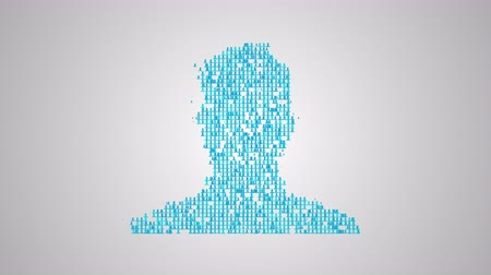 Social network concept, a lot of avatars make closeup silhouette of a  human