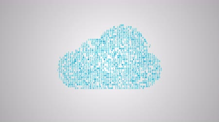 descarregamento : Cloud computing concept, icons make a cloud, abstract information technology animation