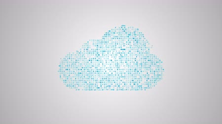 Cloud computing concept, icons make a cloud, abstract information technology animation
