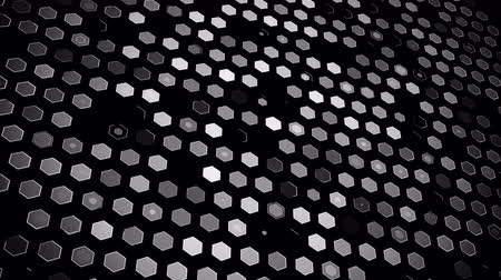 Abstract technological animation glowing hexagon cells
