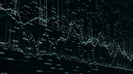 Abstract background with animation of growing charts and flowing counters of numbers. Financial figures and diagrams showing increasing profits
