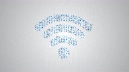 binary code make closeup silhouette of wi-fi sign, abstract information technology animation 動画素材