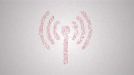 binary code make closeup silhouette of cell network sign, abstract information technology animation