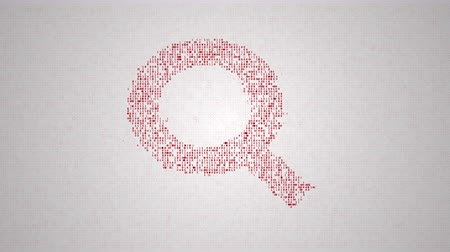 investigar : binary code make closeup silhouette of search sign, abstract information technology animation