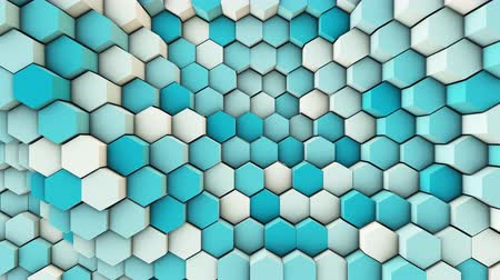 3d wavy hexagons pipes, slow motion abstract background 動画素材