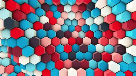 3d wavy hexagons pipes, slow motion abstract background Stockvideo