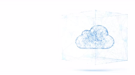 cloud computing, tech animation of cloud symbol from the chaotically slow moving connected points, cloud technology concept, seamless loop animation