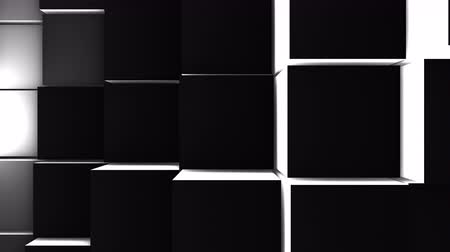 quadrate : A lot of black cubes on the surface of the whole screen, volumetric wave-like movement of cubes densely adjacent to each other, slow motion 4K abstract background