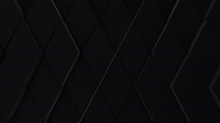 плотно : A lot of black rhombuses on the surface of the whole screen, volumetric wave-like movement of rhombs densely adjacent to each other, slow motion 4K abstract background