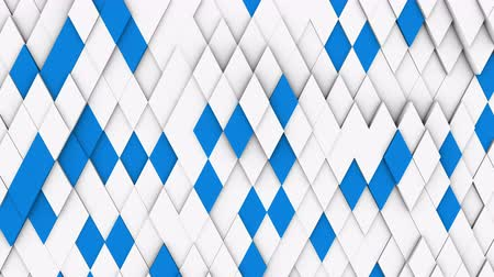 rhombic : abstract polygonal geometric surface, white minimal polygonal grid pattern with some color elements, random waving motion background canvas in pure architectural wall with white design space Stock Footage