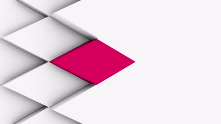 rhombic : abstract polygonal geometric surface, white minimal polygonal grid pattern with some color elements, random waving motion background in pure architectural wall with space for custom design Stock Footage