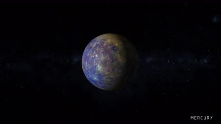 hírnök : Mercury is the smallest and innermost planet in the Solar System, with stars of the milky way galaxy on background