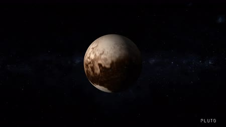 gravitace : Pluto is a dwarf planet in the Kuiper belt in our solar system with stars of the milky way galaxy on background